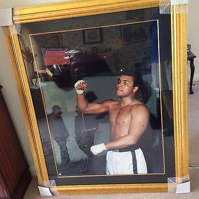 MUHAMMAD ALI SIGNED PORTRAIT WITHIN FRAME APPROX 106 x 131 Centimetres