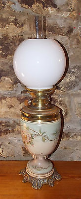 Antique Victorian Royal Worcester Hinks OIL LAMP hand painted porcelain