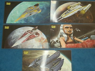 STAR WARS: CLONE WARS 'WIDEVISION'  Set of 5 Motion Chase Cards Topps 2009 Lenti