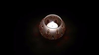 Oriental hand painted candle holder made of fine frosted glass-Birthday gift