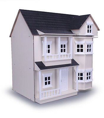 Cream Veranda Fronted Two Storey Dolls House Kit Form Collectors Wood MDF