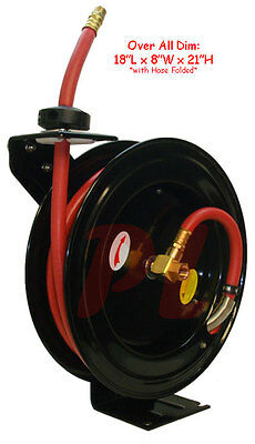 """1/2"""" x 25' Retractable Air Hose Reel Wall Ceiling Truck Mount 300 PSI"""