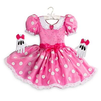 Disney Store Minnie Mouse Deluxe Halloween Costume Dress Gloves Set Girl Size 2T