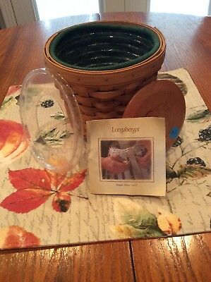 Longaberger bouquet basket with protector, liner, and lid.