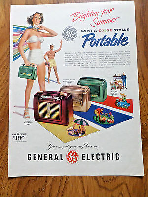 1950 GE General Electric Portable Radios Ad  Color Styled