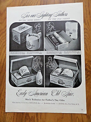 1943 Early American Old Spice Ad For our Fighting Fathers on the Home War Front