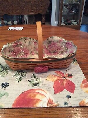 Longaberger Peony basket with protector and liner.