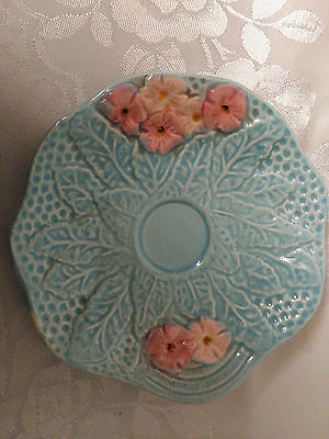 Stunning Rare Melba Blue And Pink Saucer For Egg Cup Melba Ware