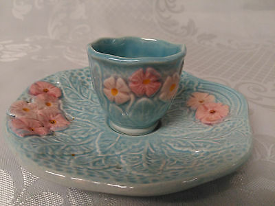 Stunning Rare Melba Blue And Pink Egg Cup And Saucer Melba Ware