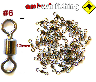 50 ROLLING FISHING SWIVELS SIZE #6  TEST-30kg Bream Whiting Dart BULK Beach Surf