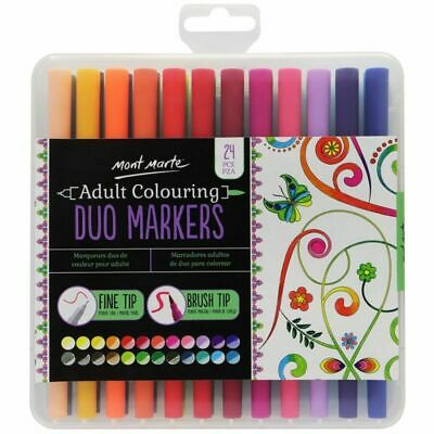 Mont Marte Marker Set - Duo Marker Fine & Brush Tip 24pc