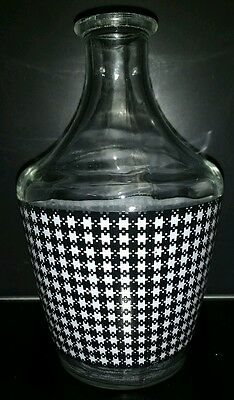 Liquor Decanter Made in France Houndstooth Plaid Pattern Liqueur Sherry
