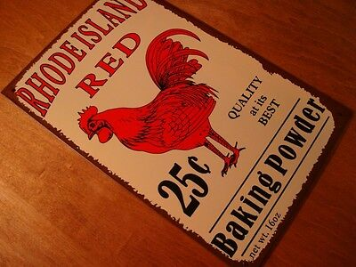 RHODE ISLAND RED ROOSTER BAKING POWDER Rustic Farm Kitchen Sign Home Decor NEW