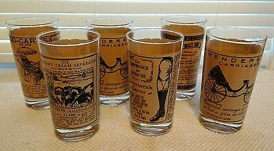 Highball Glasses With Old Vintage Newspaper Ads S/6 Gas Station Promo Barware