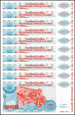 Croatia 5 Milliard (Billion) Dinara X 10 PCS, 1993, P-R27, UNC, Serbian Republic