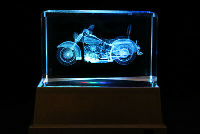 Motor bike Motorcycle Laser Inscribed Crystal LED Night Light Gift SPT004