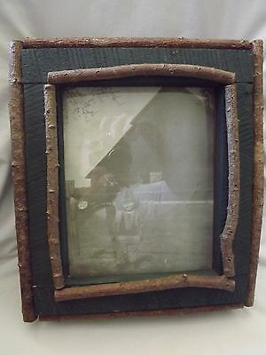 """Wooden Green Cupboard Picture Frame Lodge Trimmed w/Branches 14"""" x 12"""" x 4"""" New"""