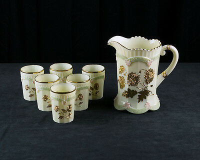 Northwood Chrysanthemum Sprig Water Set, Signed Antique Custard Pitcher Tumblers