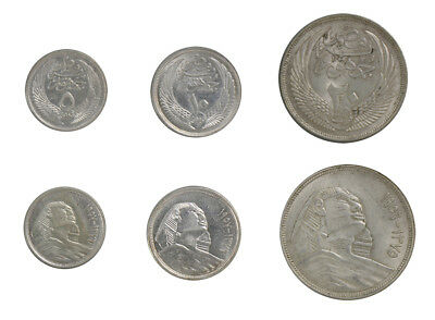 Egypt 5,10,20 Piastres 3 Pieces PCS Silver Coin Set,1956-57,Mint,Monument Sphinx