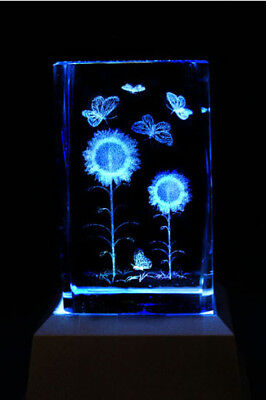 Butterfly and Sunflower Laser Inscribed Crystal LED Night Light Gift BTF04