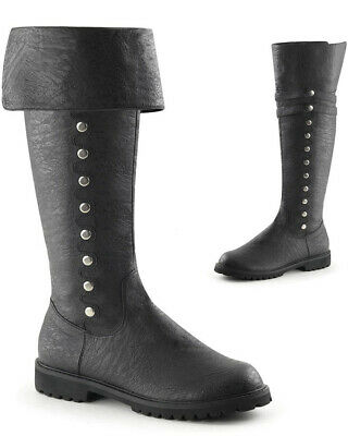 Black Cuffed Knee High Mens Boots