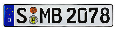 Mercedes Stuttgart Rear German License Plate by Z Plates wtih Unique Number NEW