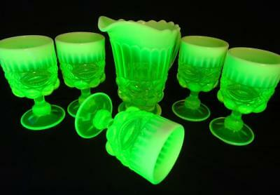 Mosser Vaseline Glass Eye-Winker Pattern Pitcher & Five Goblets
