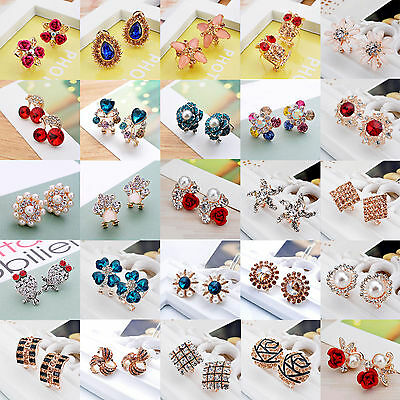 Fashion Elegant Women Gold Silver Crystal Rhinestone Flower Ear Stud Earrings