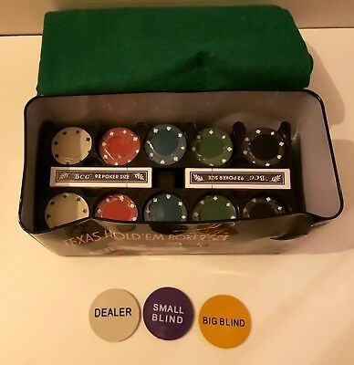 200 Pc Texas Hold'em Poker Set Chips Professional Casino Game Cards Metal Box