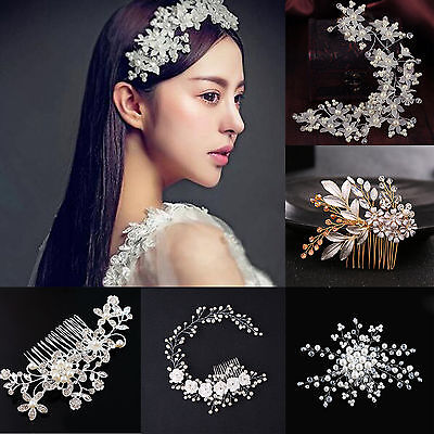 Wedding Bridal Prom Party Crystal Rhinestone Flower Hairpin Clip Hair Comb Gifts