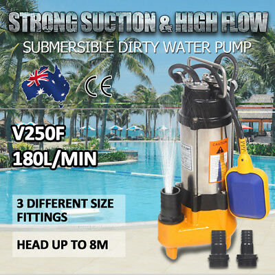 AUTO Submersible Dirty Water Pump Stainless Steel 180L/MIN Well Sewerage Sullage
