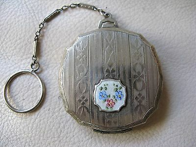 Antique Silver T White Guilloche Enamel Engraved Finger Ring Puff Dance Compact