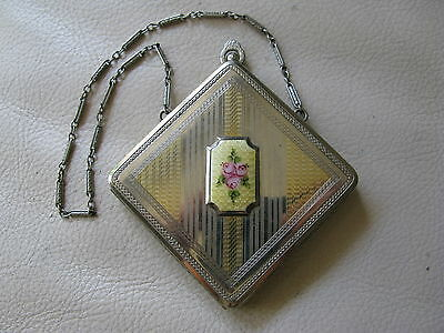 Antique Silver Gold T Yellow White Guilloche Enamel Bar Chain Fob Dance Compact