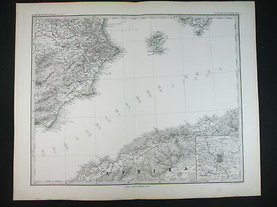 1879 Ibiza Formentera Spagna Madrid Spain Antica Carta Antique Print Map D426
