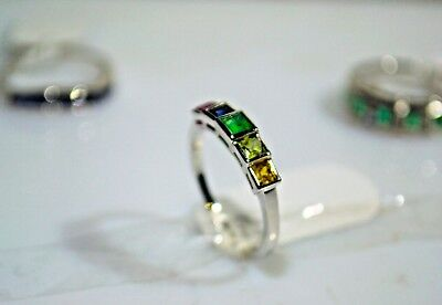 Natural multi Sapphire & Emerald  925 Sterling Silver Ring Free Shipping