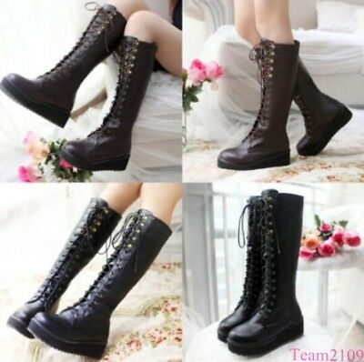 Womens Knee High Boots Front Lace Up Platform Military Boots Punk Plus Size Goth