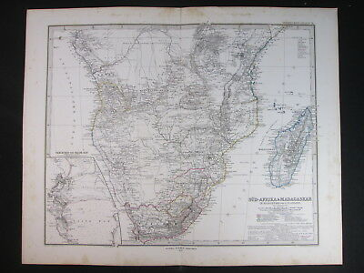 1879 Africa Madagascar Sudafrica Cape Town Antica Carta Antique Print Map D426
