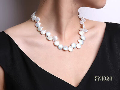 """Fashion 12x16mm White Button-shaped Natural Real Freshwater Pearl Necklace 18"""""""