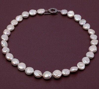 """New Fashion 11-12mm White Button Shape Natural Freshwater Pearl Necklace 18"""""""