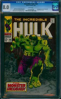 Incredible Hulk # 105  This Monster Unleashed !  CGC 8.0 scarce book !