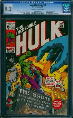Incredible Hulk # 140  The Brute that Shouted Love !  CGC 9.2 scarce book !
