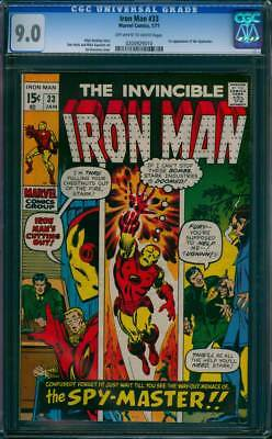 Iron Man # 33  The Way Out Menace of the Spy-Master !  CGC 9.0 scarce book !