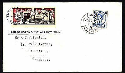 Talyllyn Railway 1965 1s on 11d Railway Letter Stamp on envelope to Somerset (5)