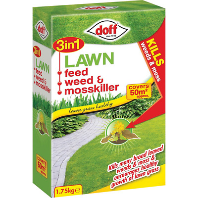Doff 3-in-1 Lawn Feed Weed and Moss killer, Multi-Colour, 1.75 kg