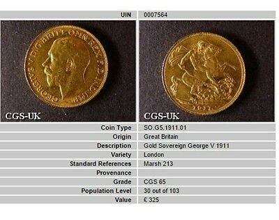 1911 GEF George V Gold Sovereign Coin CGS 65, AU58 - MS61