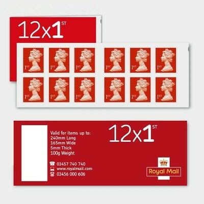 New Royal Mail 1st Class  Stamp Red Booklet 12x1 Self Adhesive