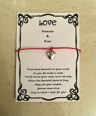 Wish Bracelet Love Girlfriend Wife Forever Gift Card Poem Various Colours Charm