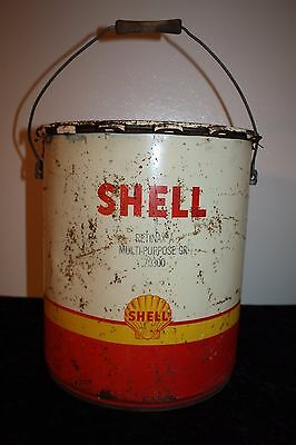 "Vintage Shell Oil Can 70300 All Purpose Grease Can 5 Gallon 13.5""H x 12""W"
