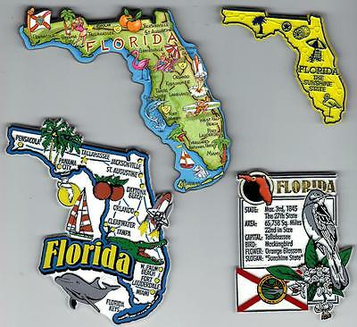 FLORIDA FL  MAGNET ASSORTMENT 4 NEW  SOUVENIRS includes JUMBO  ARTWOOD MAP