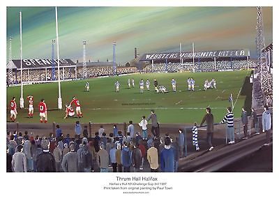 Halifax Thrum Hall v Hull KR 1987 Challenge Cup 3rd Round A3 FRAMED Print